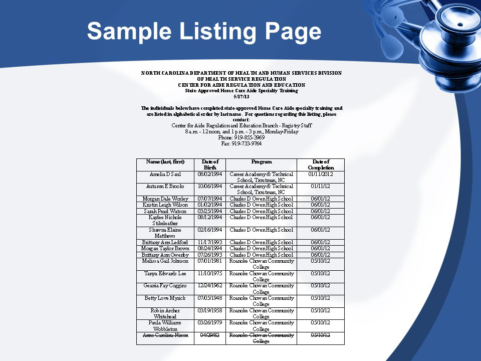 Listing Verifications Once the DHSR's web technology project is completed, the listing will be found on the Nurse Aide Verification page as do the other registry listings.