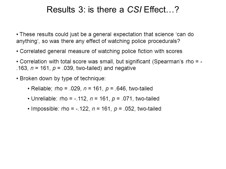 Results 3: is there a CSI Effect….
