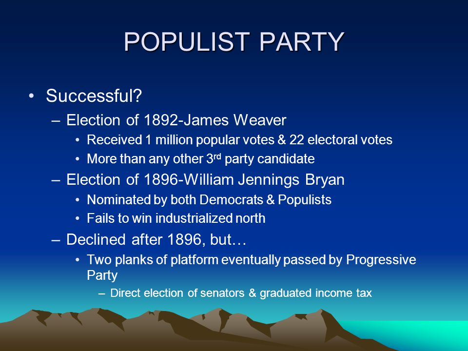POPULIST PARTY Successful.