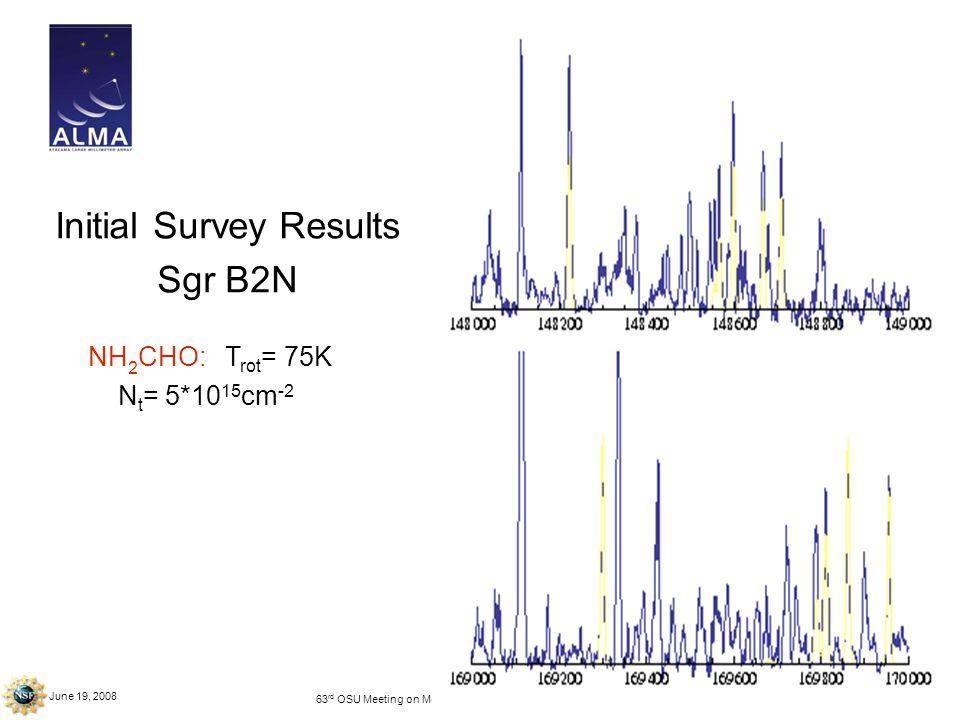 June 19, 2008 63 rd OSU Meeting on Molecular Spectroscopy – Columbus, OH Initial Survey Results Sgr B2N NH 2 CHO: T rot = 75K N t = 5*10 15 cm -2