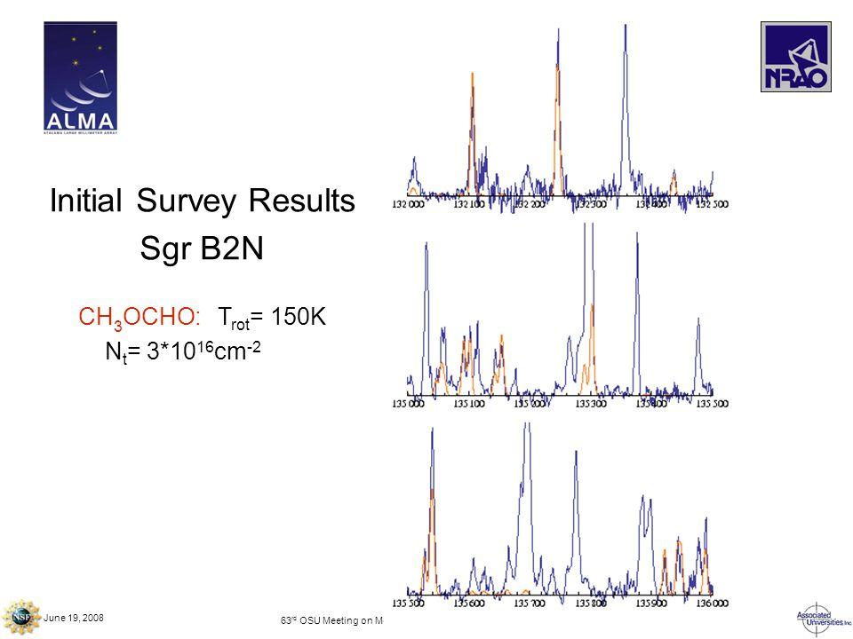 June 19, 2008 63 rd OSU Meeting on Molecular Spectroscopy – Columbus, OH Initial Survey Results Sgr B2N CH 3 OCHO: T rot = 150K N t = 3*10 16 cm -2