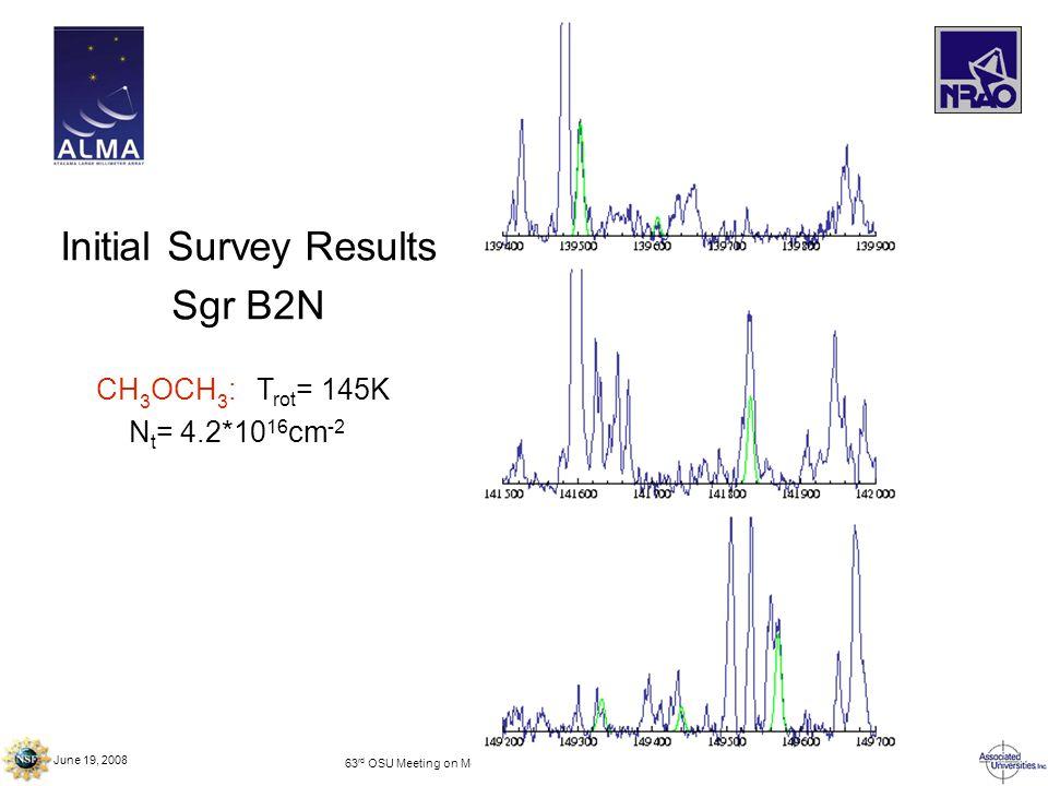 June 19, 2008 63 rd OSU Meeting on Molecular Spectroscopy – Columbus, OH Initial Survey Results Sgr B2N CH 3 OCH 3 : T rot = 145K N t = 4.2*10 16 cm -2