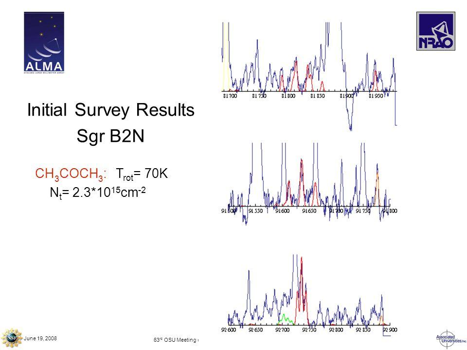 June 19, 2008 63 rd OSU Meeting on Molecular Spectroscopy – Columbus, OH Initial Survey Results Sgr B2N CH 3 COCH 3 : T rot = 70K N t = 2.3*10 15 cm -2
