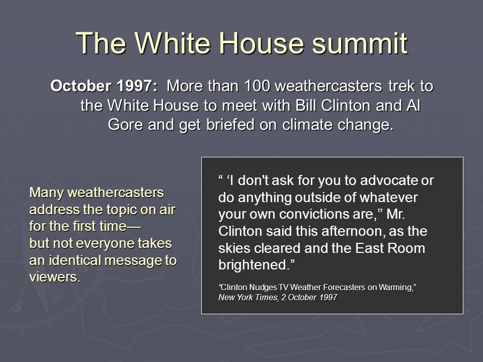 """The White House summit """" 'I don't ask for you to advocate or do anything outside of whatever your own convictions are,'' Mr. Clinton said this afterno"""