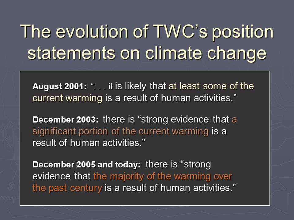 The evolution of TWC's position statements on climate change August 2001: ...