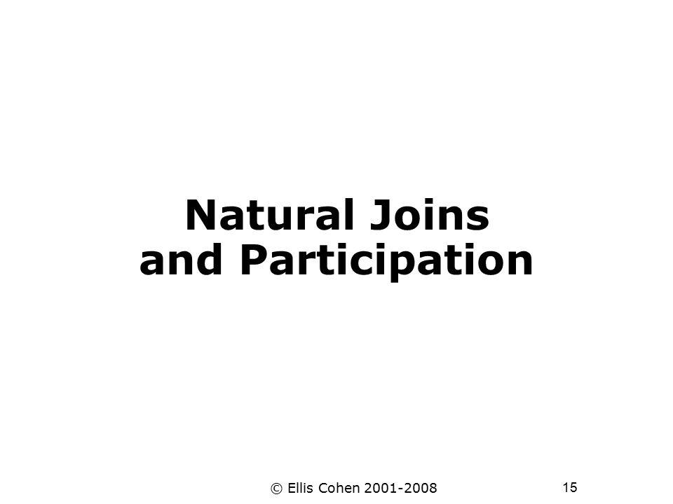 15 © Ellis Cohen 2001-2008 Natural Joins and Participation