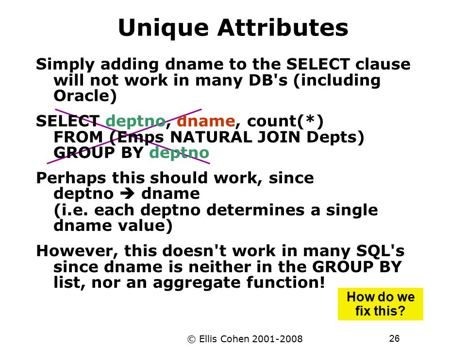 26 © Ellis Cohen 2001-2008 Unique Attributes Simply adding dname to the SELECT clause will not work in many DB's (including Oracle) SELECT deptno, dna