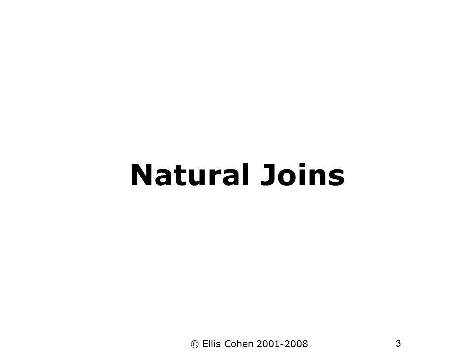 3 © Ellis Cohen 2001-2008 Natural Joins