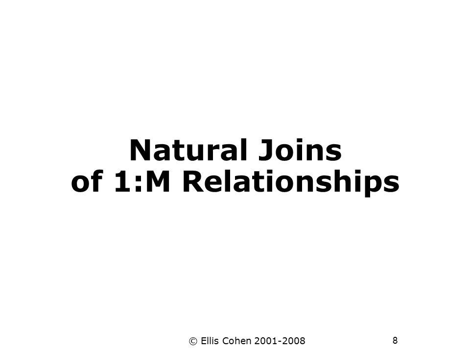 8 © Ellis Cohen 2001-2008 Natural Joins of 1:M Relationships