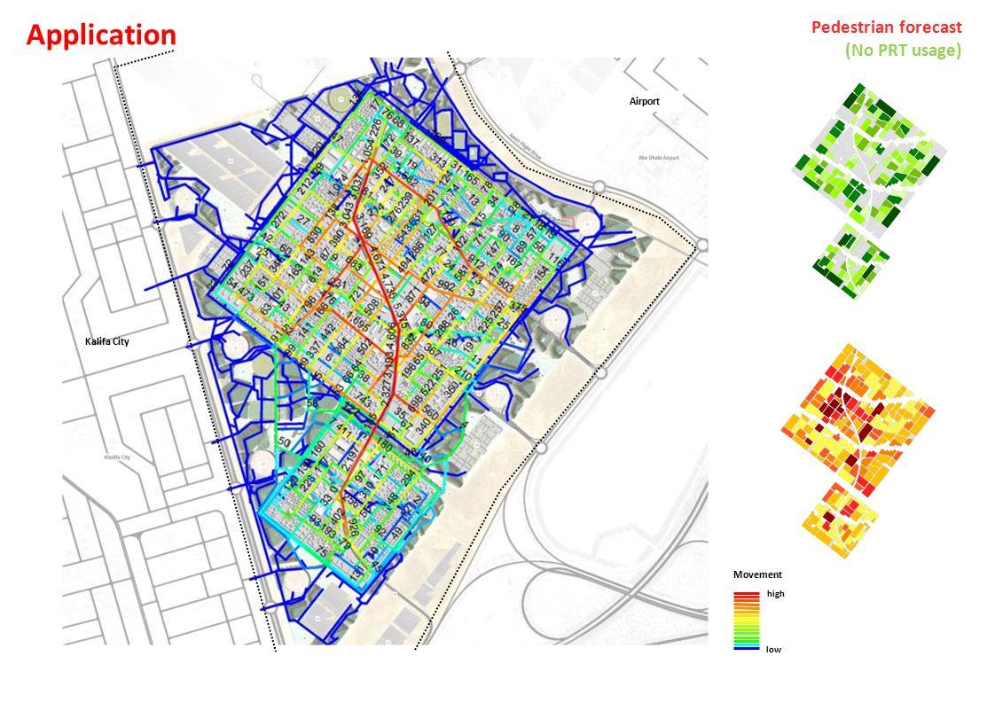Airport Kalifa City Movement high low Pedestrian forecast (No PRT usage) Application