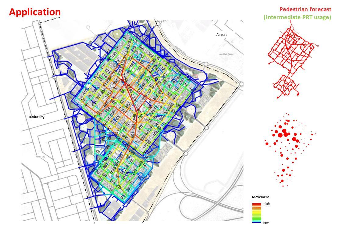 Airport Kalifa City Movement high low Pedestrian forecast (Intermediate PRT usage) Application