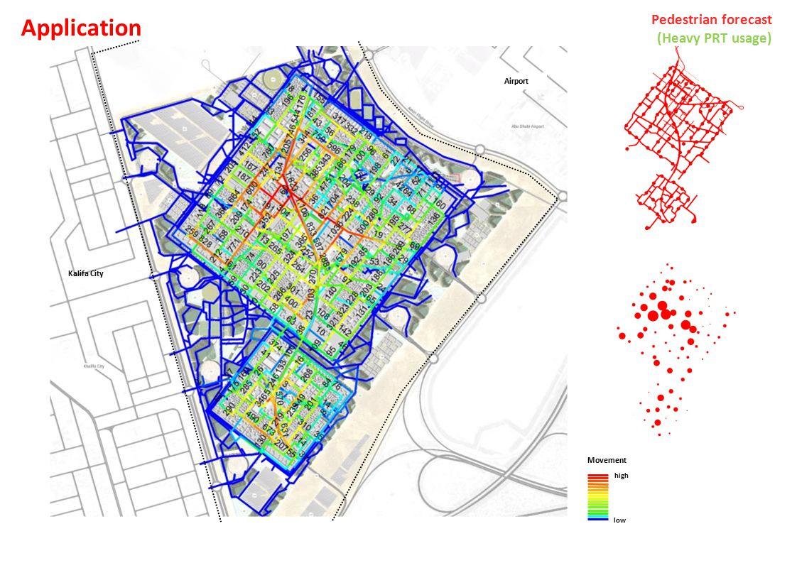 Airport Kalifa City Movement high low Pedestrian forecast (Heavy PRT usage) Application