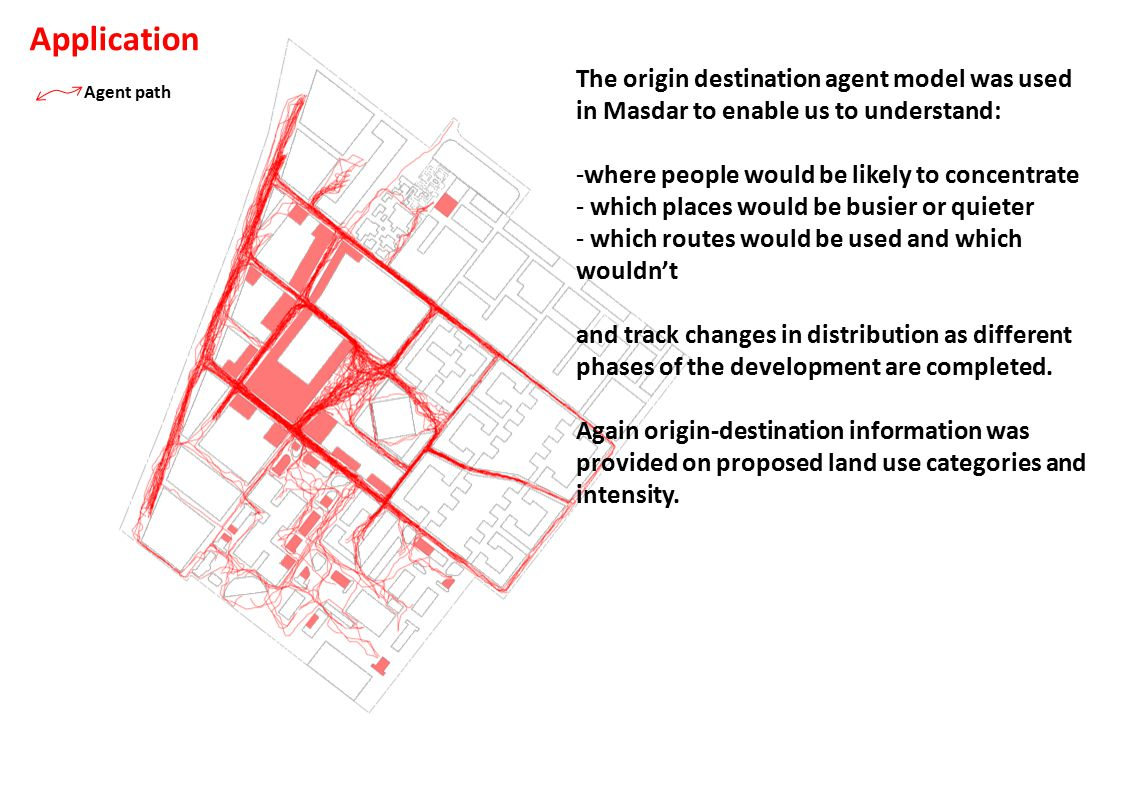 Agent path The origin destination agent model was used in Masdar to enable us to understand: -where people would be likely to concentrate - which places would be busier or quieter - which routes would be used and which wouldn't and track changes in distribution as different phases of the development are completed.