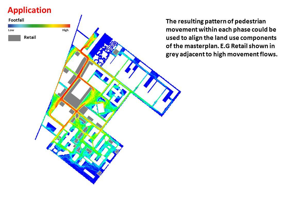 Footfall LowHigh The resulting pattern of pedestrian movement within each phase could be used to align the land use components of the masterplan.