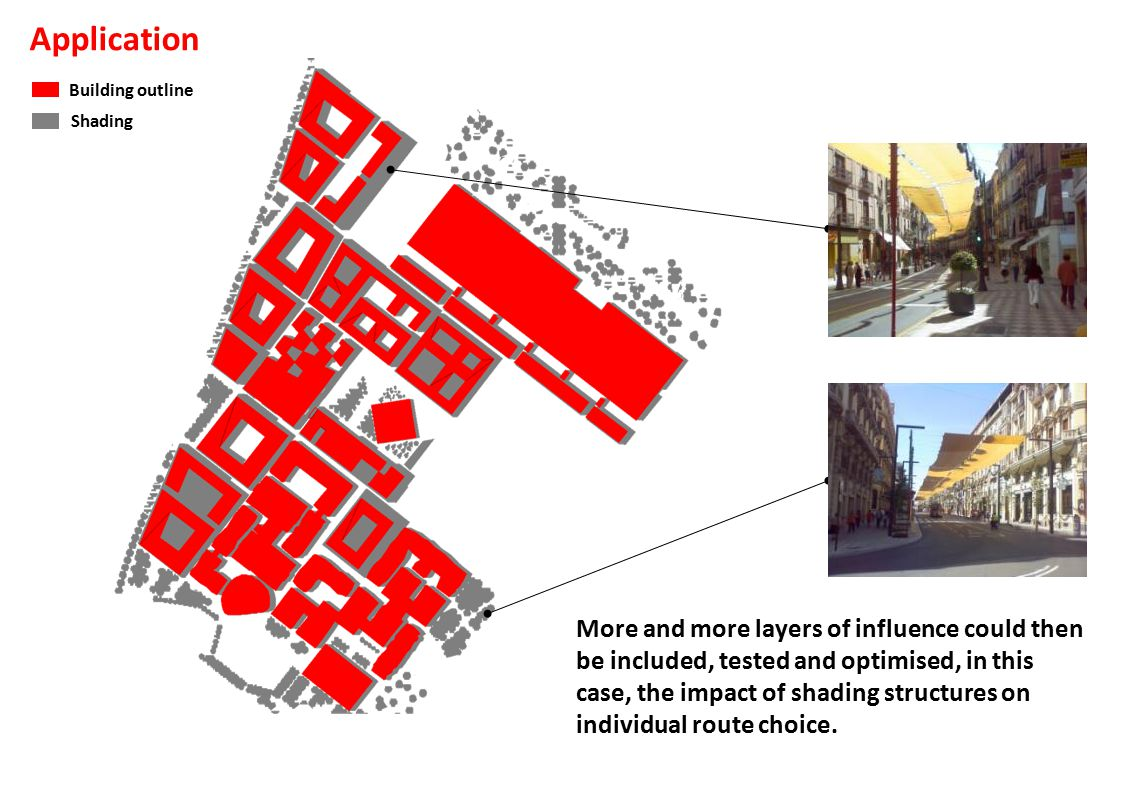 Building outline Shading More and more layers of influence could then be included, tested and optimised, in this case, the impact of shading structures on individual route choice.