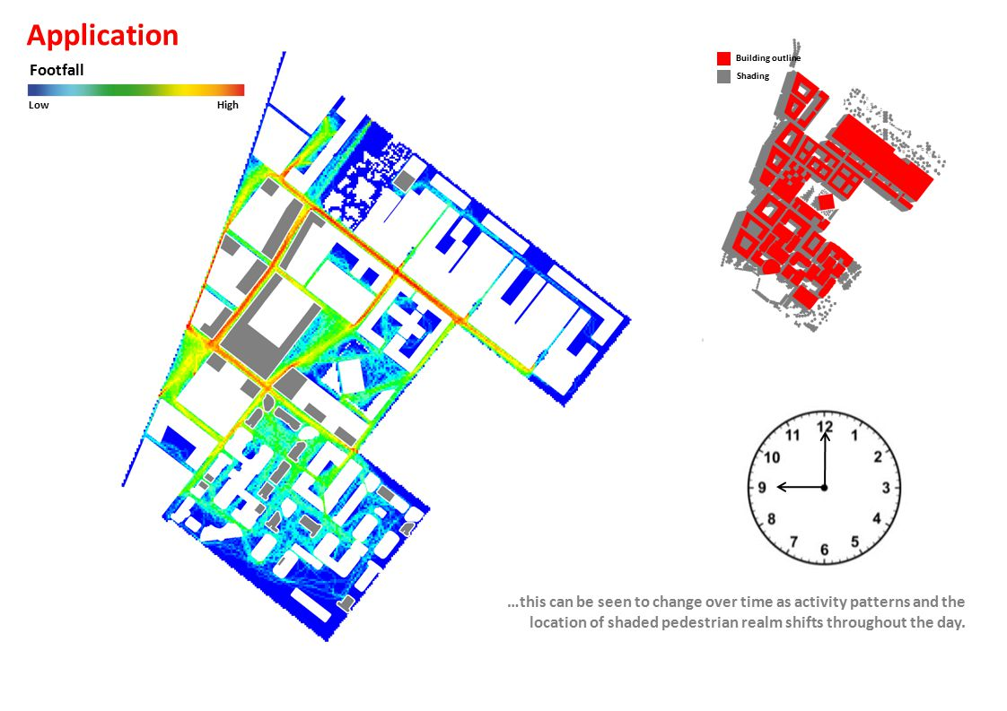 Building outline Shading Footfall LowHigh Application …this can be seen to change over time as activity patterns and the location of shaded pedestrian realm shifts throughout the day.