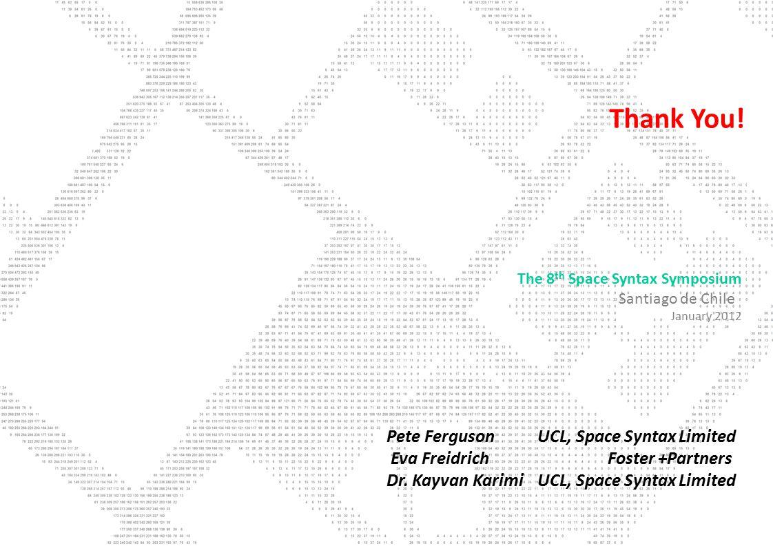Thank You. Pete FergusonUCL, Space Syntax Limited Eva Freidrich Foster +Partners Dr.