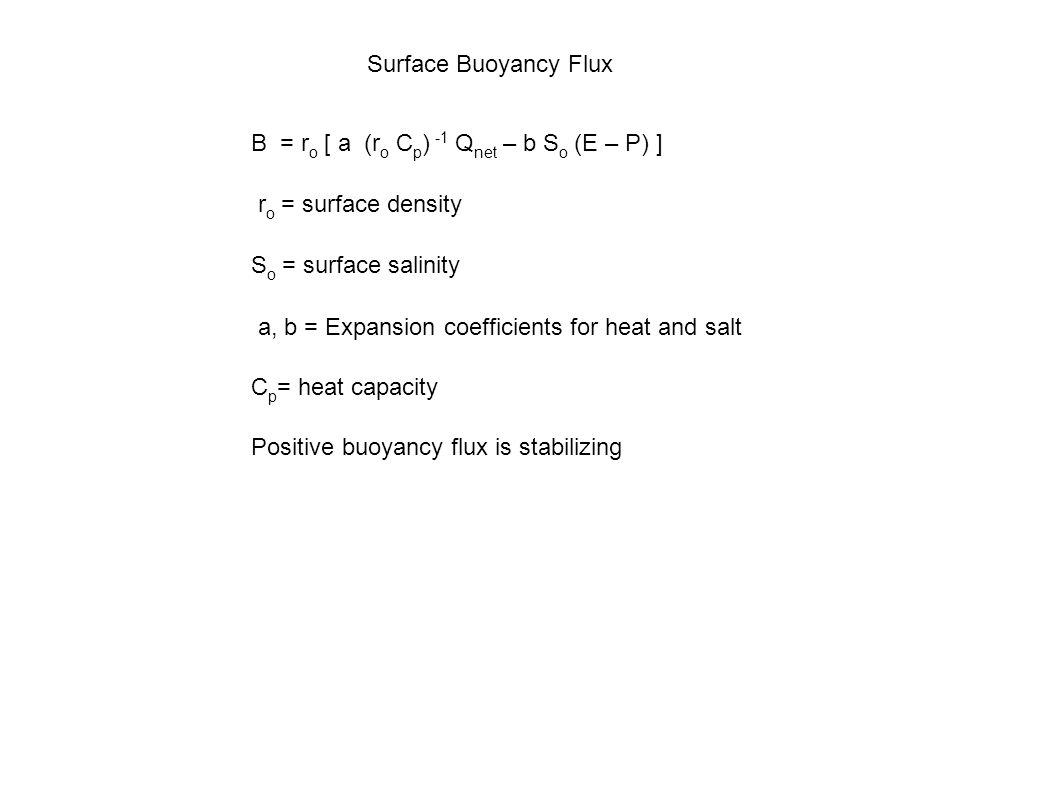 Surface Buoyancy Flux B = r o [ a (r o C p ) -1 Q net – b S o (E – P) ] r o = surface density S o = surface salinity a, b = Expansion coefficients for heat and salt C p = heat capacity Positive buoyancy flux is stabilizing