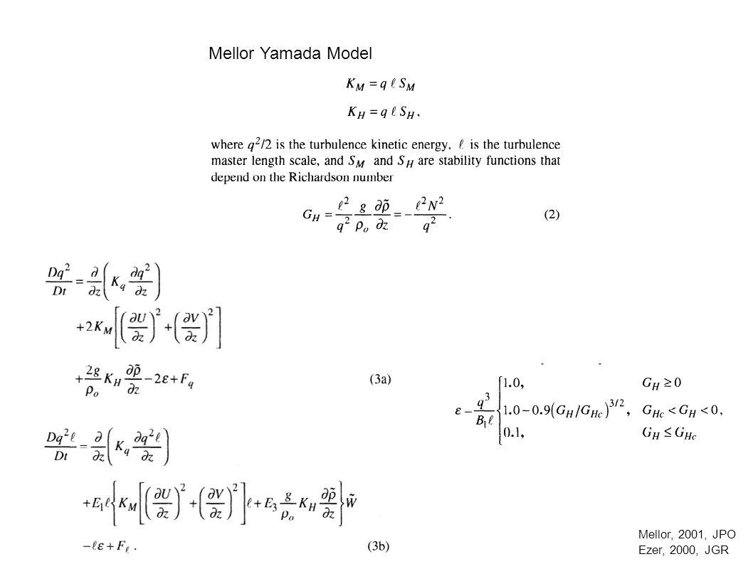 Mellor Yamada Model Mellor, 2001, JPO Ezer, 2000, JGR