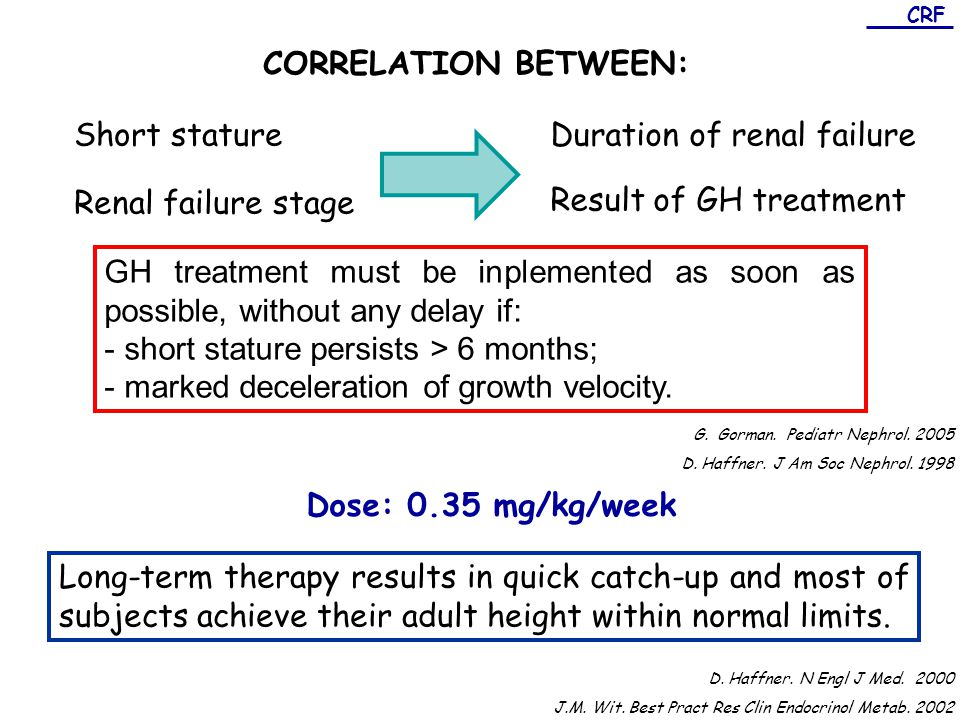 CRF CORRELATION BETWEEN: Short statureDuration of renal failure Renal failure stage Result of GH treatment GH treatment must be inplemented as soon as