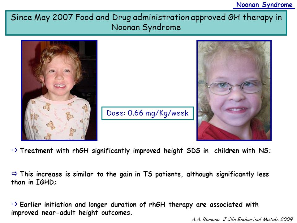 Dose: 0.66 mg/Kg/week Since May 2007 Food and Drug administration approved GH therapy in Noonan Syndrome Noonan Syndrome  Treatment with rhGH signifi