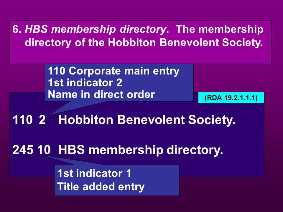 6. HBS membership directory. The membership directory of the Hobbiton Benevolent Society. 1102Hobbiton Benevolent Society. 245 10HBS membership direct