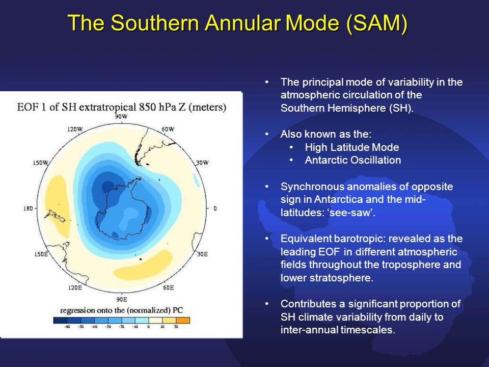 The Southern Annular Mode (SAM) The principal mode of variability in the atmospheric circulation of the Southern Hemisphere (SH).