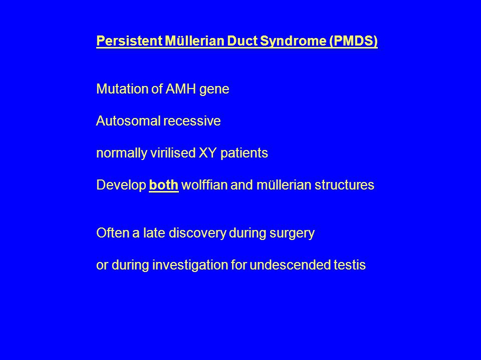 Persistent Müllerian Duct Syndrome (PMDS) Mutation of AMH gene Autosomal recessive normally virilised XY patients Develop both wolffian and müllerian