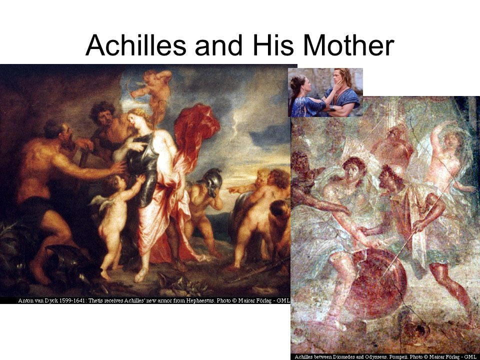 Achilles and Peleus Peleus marries Thetis Mortal Peleus makes Achilles mortal Peleus gives Achilles to centaur Chiron to be raised.