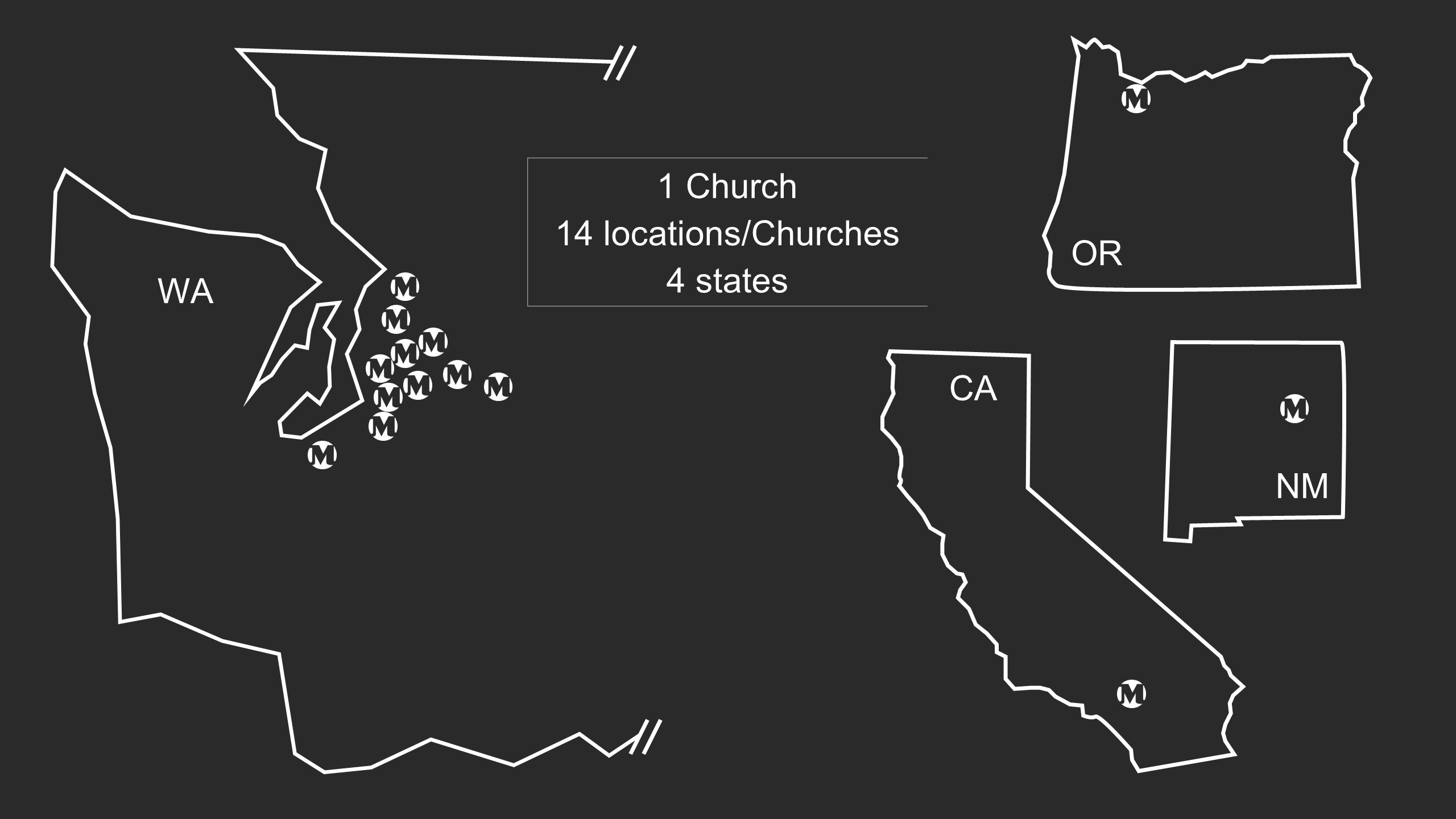 WA NM CA OR 1 Church 14 locations/Churches 4 states
