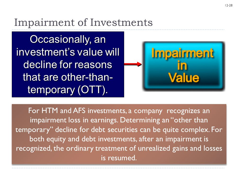 12-28 Impairment of Investments Occasionally, an investment's value will decline for reasons that are other-than- temporary (OTT). For HTM and AFS inv