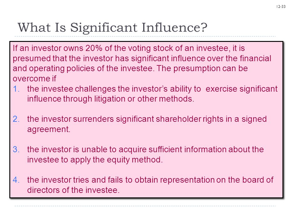 12-33 What Is Significant Influence? If an investor owns 20% of the voting stock of an investee, it is presumed that the investor has significant infl