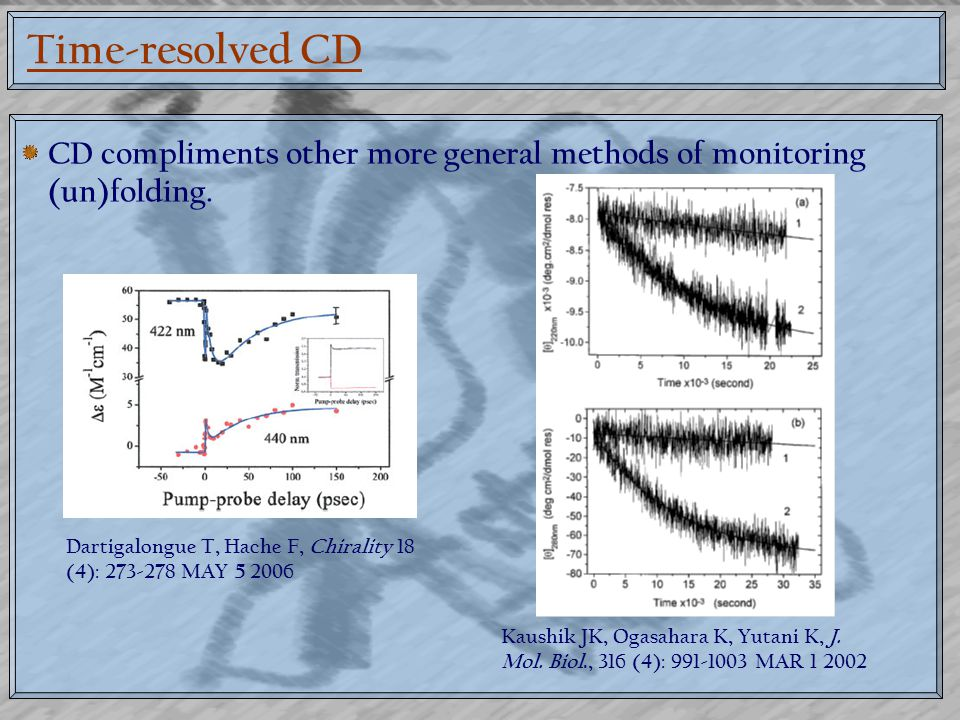 Time-resolved CD CD compliments other more general methods of monitoring (un)folding.