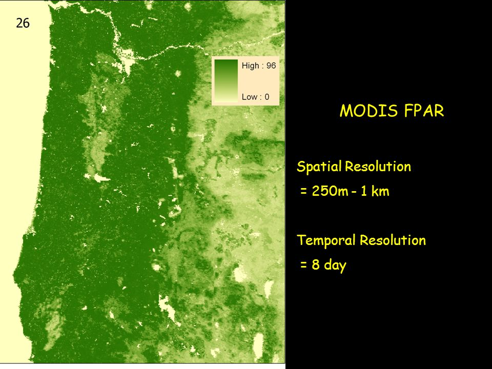 MODIS FPAR Spatial Resolution = 250m - 1 km Temporal Resolution = 8 day