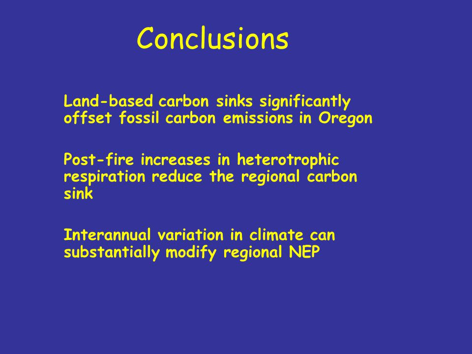 Conclusions Land-based carbon sinks significantly offset fossil carbon emissions in Oregon Post-fire increases in heterotrophic respiration reduce the regional carbon sink Interannual variation in climate can substantially modify regional NEP