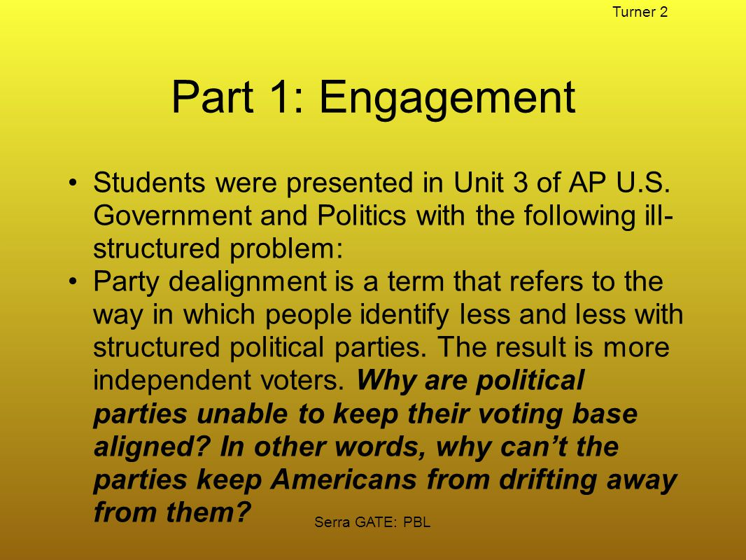 Serra GATE: PBL Problem Based Learning In AP United States Government and Politics Teacher: John Turner 124 total students served in four sections 57 students identified as GATE or Seminar Turner 1