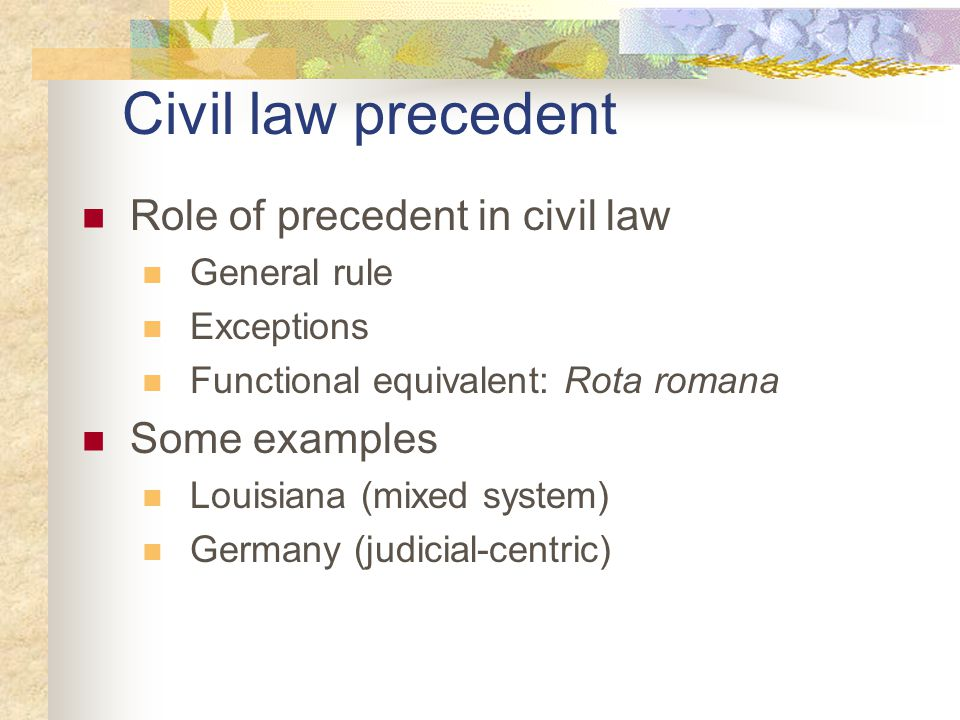 General rule Civil law world does not regard judicial pronouncements as binding in subsequent cases. (principal touchstone: common law vs civil law) Questions – Does this permit judicial/legal fluidity.