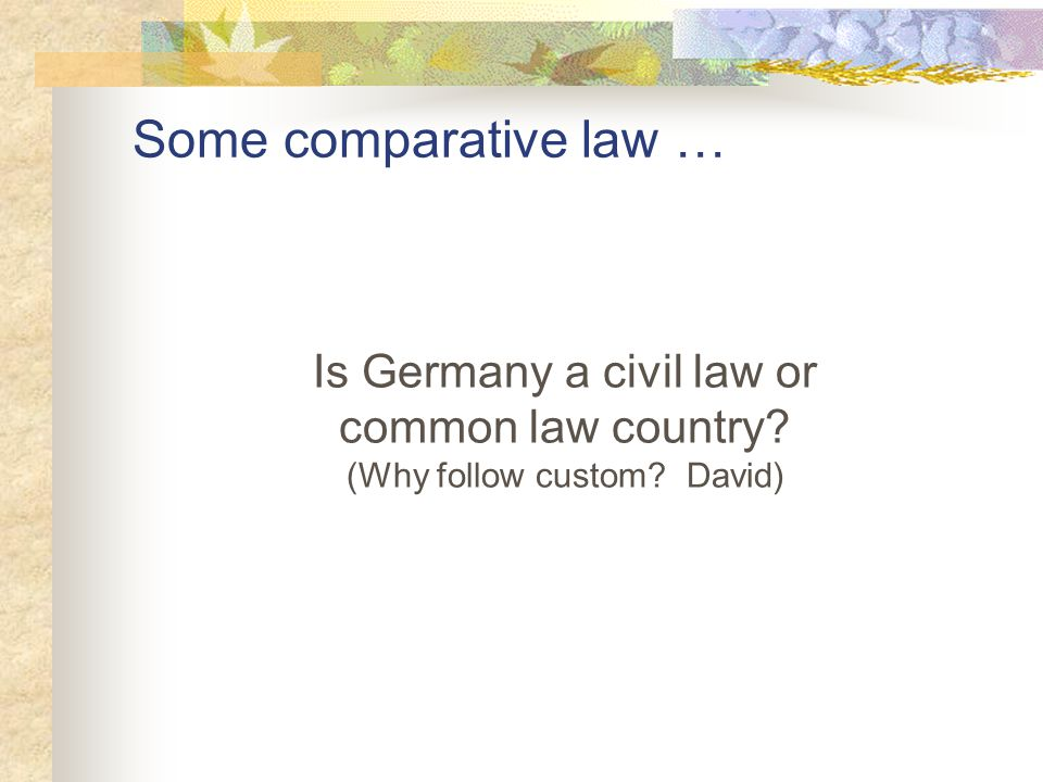 Some comparative law … Is Germany a civil law or common law country? (Why follow custom? David)