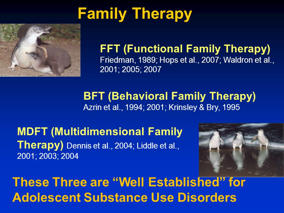 Family Therapy BFT (Behavioral Family Therapy) Azrin et al., 1994; 2001; Krinsley & Bry, 1995 MDFT (Multidimensional Family Therapy) Dennis et al., 2004; Liddle et al., 2001; 2003; 2004 FFT (Functional Family Therapy) Friedman, 1989; Hops et al., 2007; Waldron et al., 2001; 2005; 2007 These Three are Well Established for Adolescent Substance Use Disorders