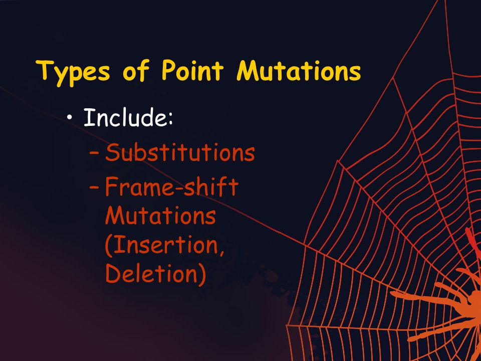 Types of Point Mutations Include: –Substitutions –Frame-shift Mutations (Insertion, Deletion)