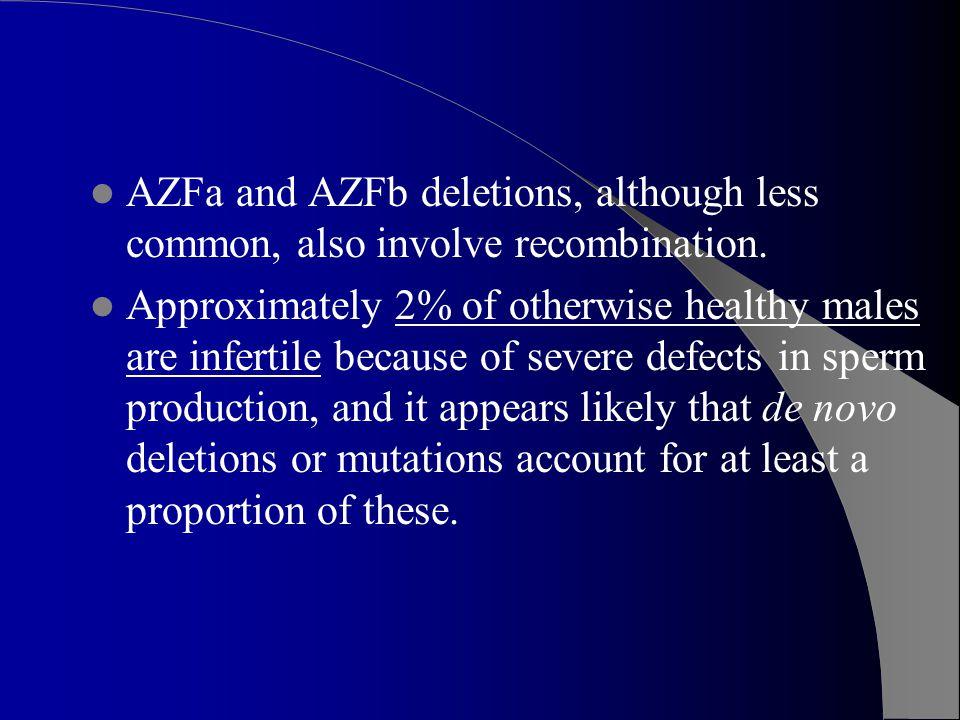 AZFa and AZFb deletions, although less common, also involve recombination.