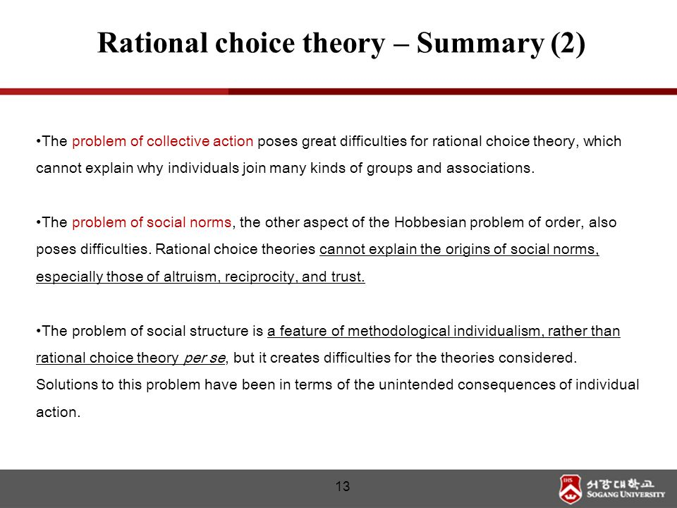 The problem of collective action poses great difficulties for rational choice theory, which cannot explain why individuals join many kinds of groups a