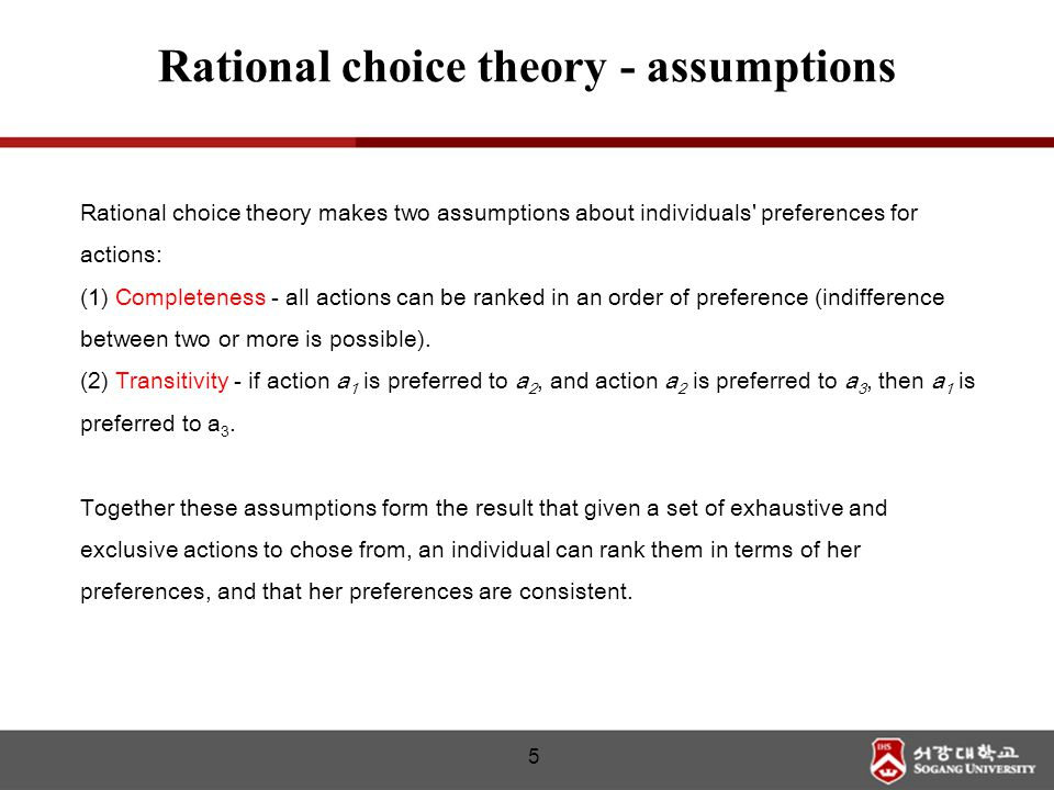Rational choice theory makes two assumptions about individuals' preferences for actions: (1) Completeness - all actions can be ranked in an order of p