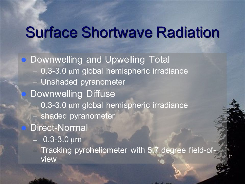 Surface Shortwave Radiation Downwelling and Upwelling Total – 0.3-3.0  m global hemispheric irradiance – Unshaded pyranometer Downwelling Diffuse – 0.3-3.0  m global hemispheric irradiance – shaded pyranometer Direct-Normal – 0.3-3.0  m – Tracking pyroheliometer with 5.7 degree field-of- view