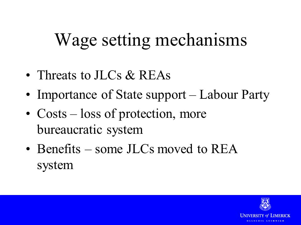 Wage setting mechanisms Threats to JLCs & REAs Importance of State support – Labour Party Costs – loss of protection, more bureaucratic system Benefit