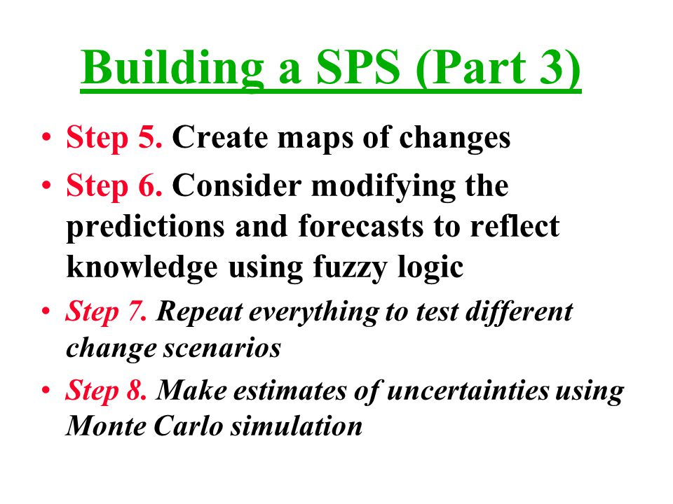 Building a SPS (Part 3) Step 5.Create maps of changes Step 6.