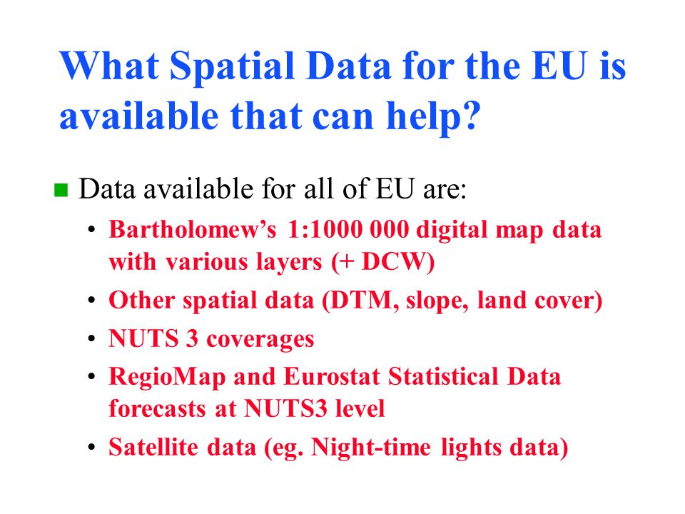 What Spatial Data for the EU is available that can help.