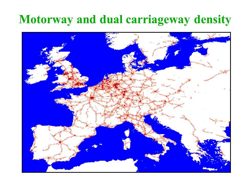 Motorway and dual carriageway density