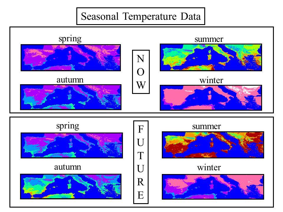 spring summer autumn winter Forecast Seasonal Temperature Data NOWNOW FUTUREFUTURE spring summer autumn winter