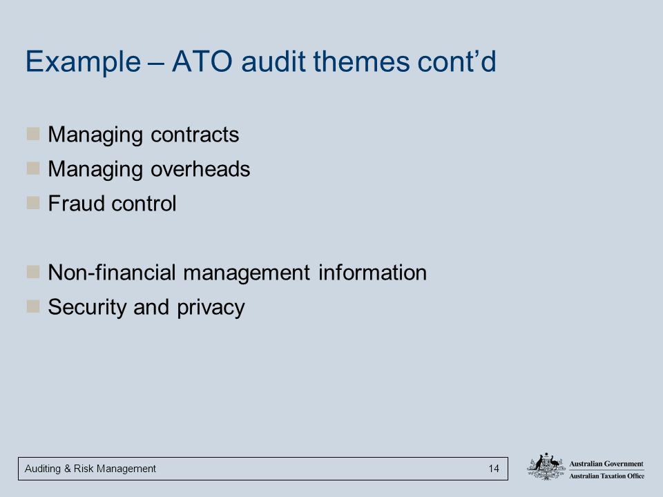 Auditing & Risk Management 14 Example – ATO audit themes cont'd Managing contracts Managing overheads Fraud control Non-financial management informati